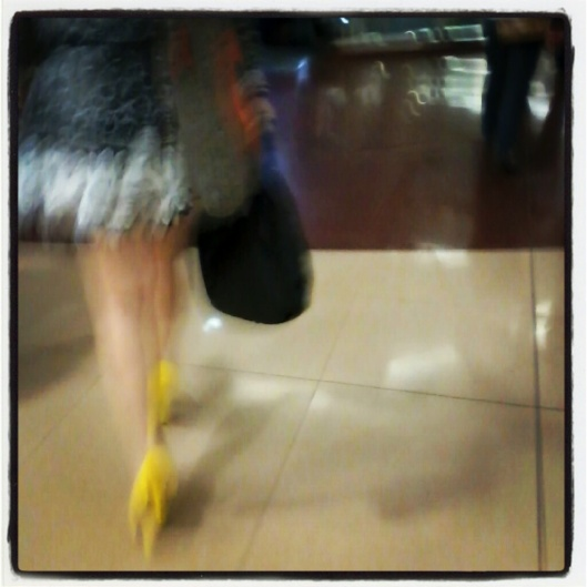 girl with yellow shoes